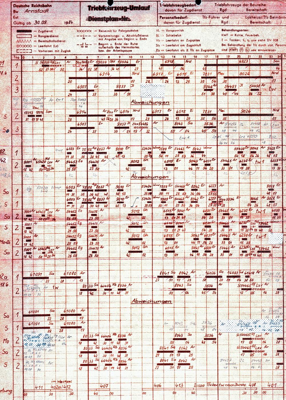 Dienstplan 401-402A